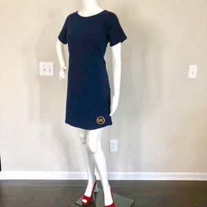 🆕 Michael Kors Basics Tee Dress Navy & Gold Logo